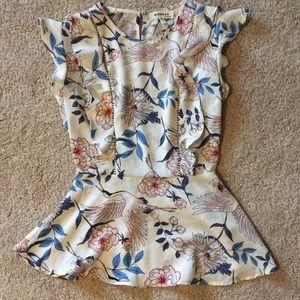 Flutter sleeve peplum blouse